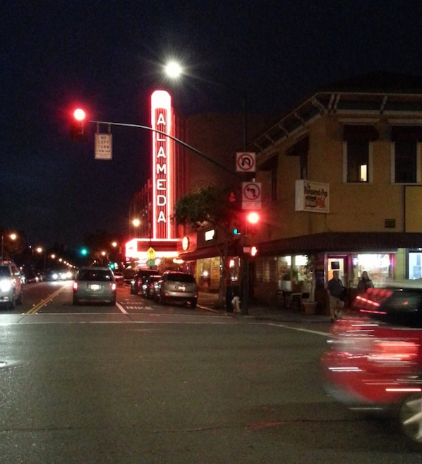 Downtown Alameda at night